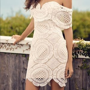 New Lulus White Lace Off-the-shoulder Dress